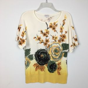 Joseph A. Beaded Gold Floral Crew Sweater. M